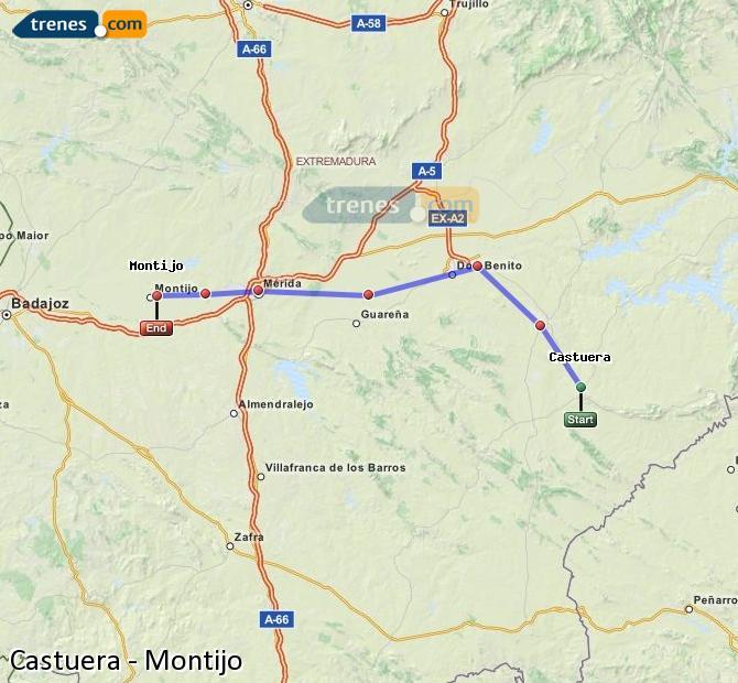 Karte vergrößern Züge Castuera Montijo
