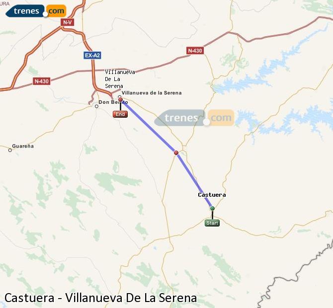Enlarge map Trains Castuera to Villanueva De La Serena