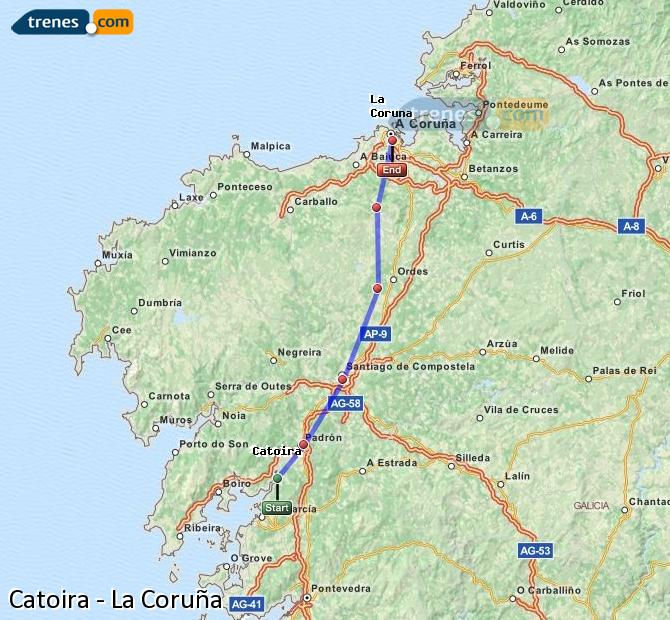 Ampliar mapa Trenes Catoira La Coruña