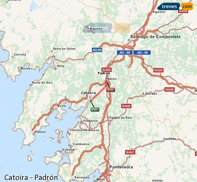 Enlarge map Trains Catoira to Padrón