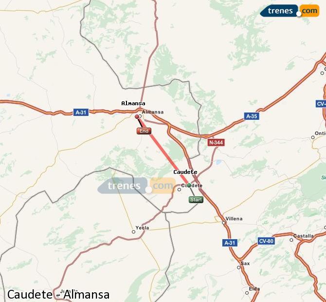Agrandir la carte Trains Caudete Almansa