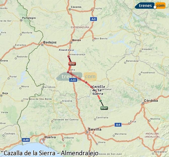 Ampliar mapa Comboios Cazalla de la Sierra Almendralejo