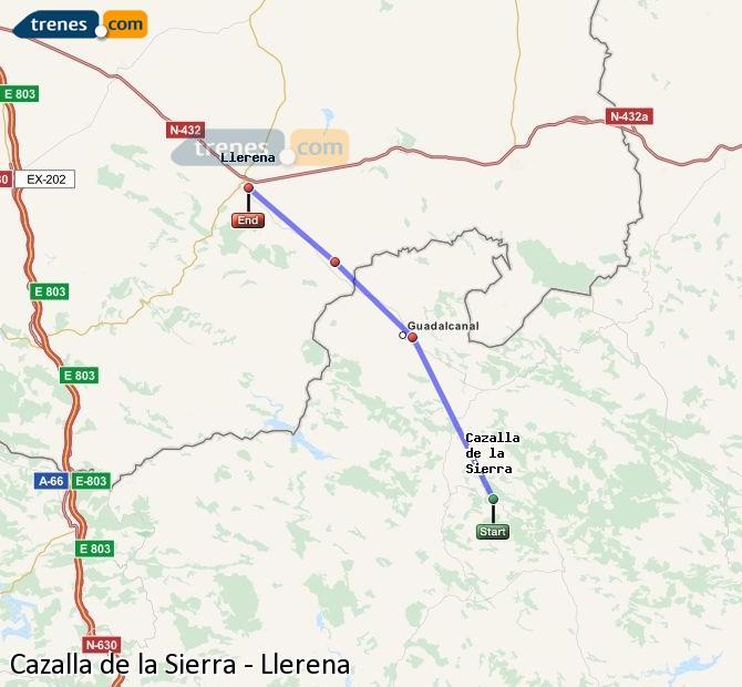 Karte vergrößern Züge Cazalla de la Sierra Llerena