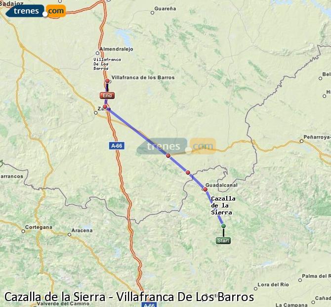Enlarge map Trains Cazalla de la Sierra to Villafranca De Los Barros