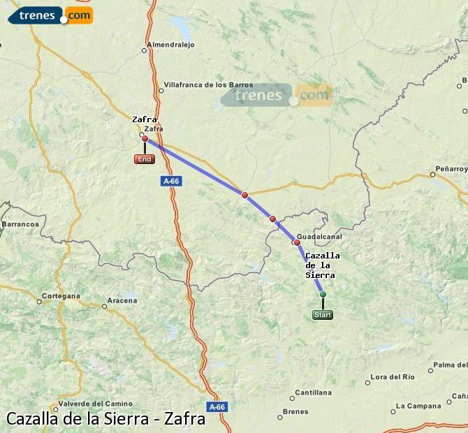 Enlarge map Trains Cazalla de la Sierra to Zafra