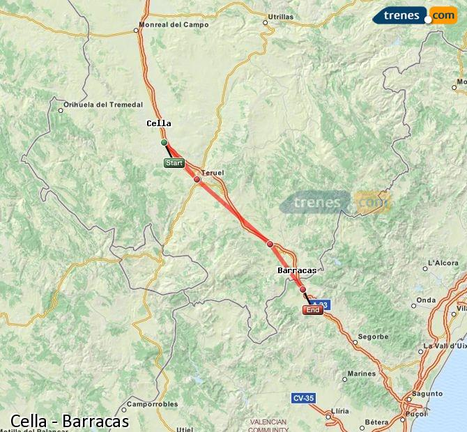 Enlarge map Trains Cella to Barracks