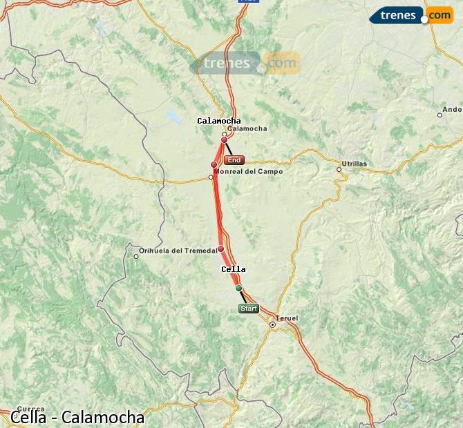 Karte vergrößern Züge Cella Calamocha
