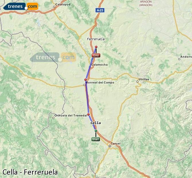 Enlarge map Trains Cella to Ferreruela