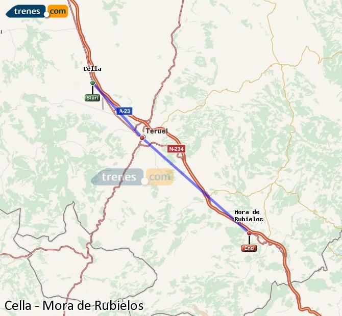 Enlarge map Trains Cella to Mora de Rubielos