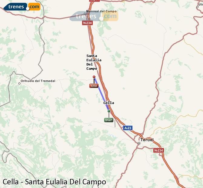 Agrandir la carte Trains Cella Santa Eulalia Del Campo