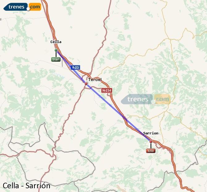 Ampliar mapa Trenes Cella Sarrión
