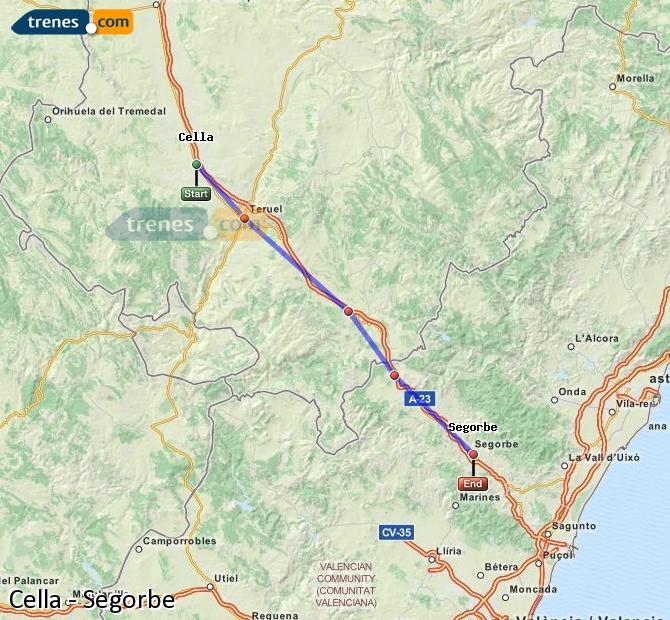 Ampliar mapa Comboios Cella Segorbe