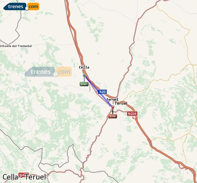 Enlarge map Trains Cella to Teruel