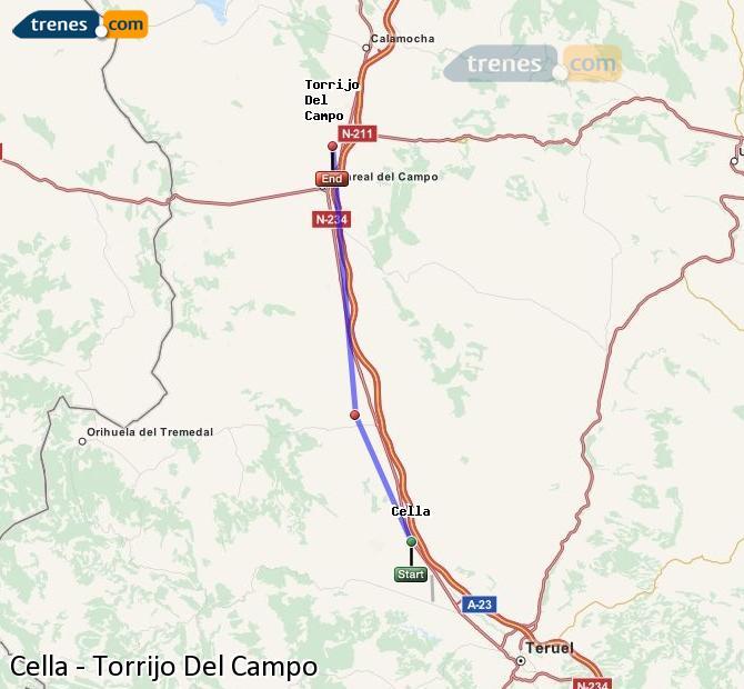 Ampliar mapa Comboios Cella Torrijo Del Campo