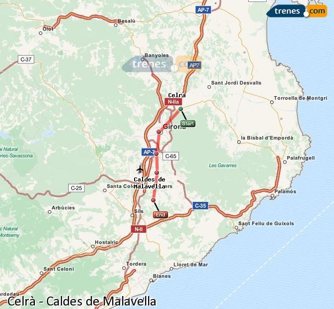Ingrandisci la mappa Treni Celrà Caldes de Malavella