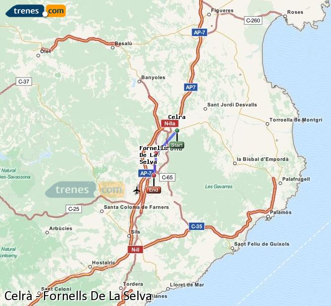 Agrandir la carte Trains Celrà Fornells De La Selva