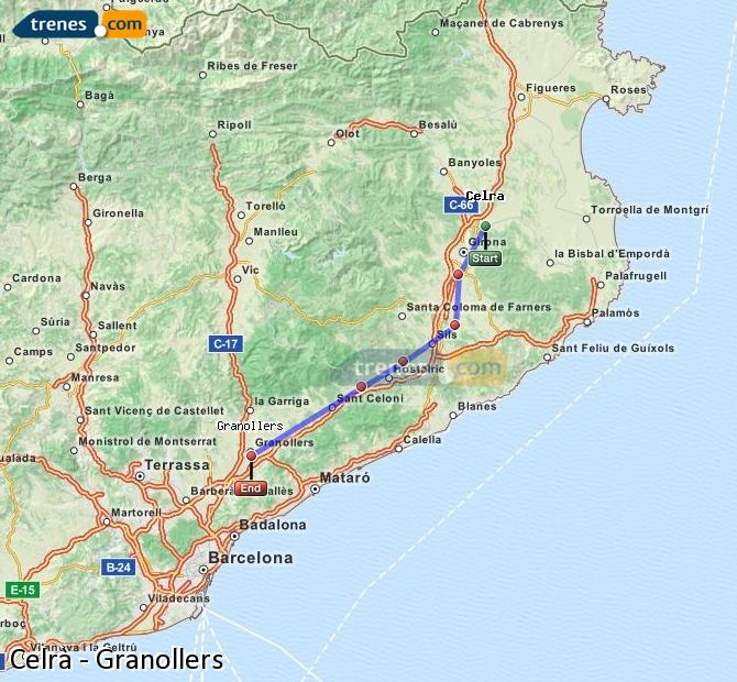 Enlarge map Trains Celrà to Granollers