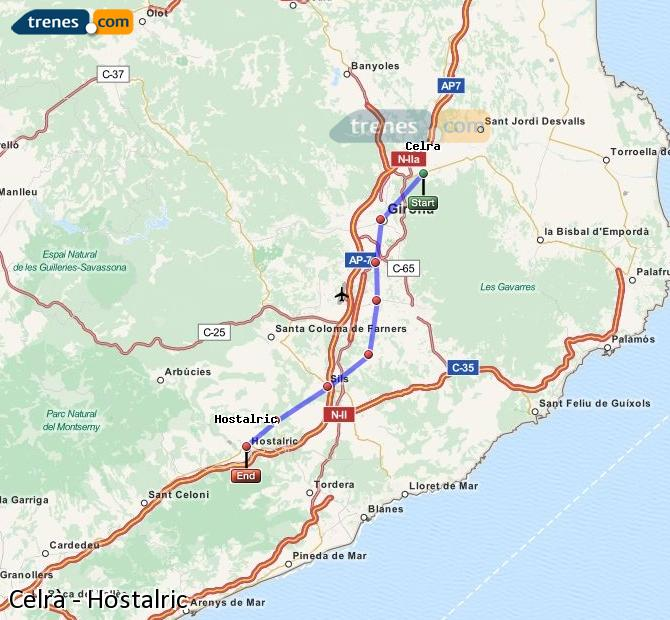 Karte vergrößern Züge Celrà Hostalric