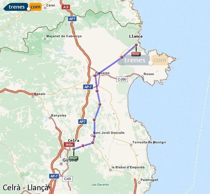 Karte vergrößern Züge Celrà Llançà