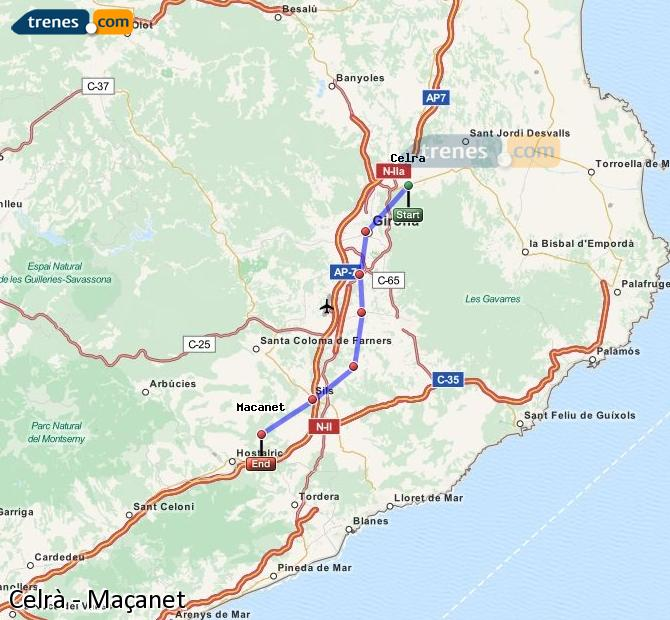 Enlarge map Trains Celrà to Maçanet