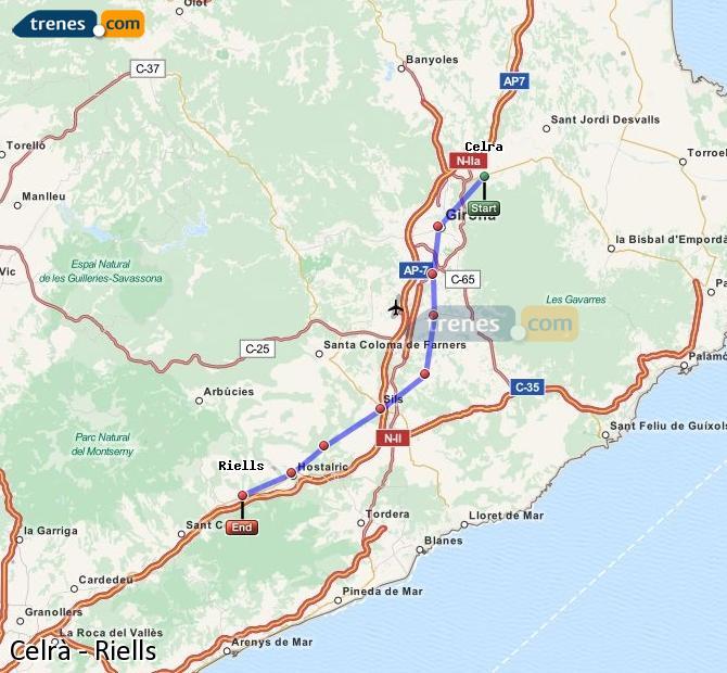 Karte vergrößern Züge Celrà Riells