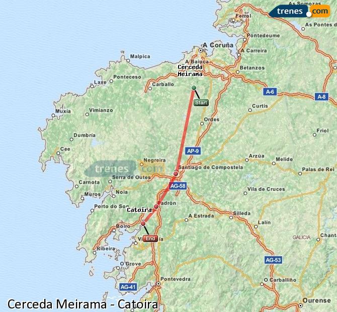 Ingrandisci la mappa Treni Cerceda Meirama Catoira