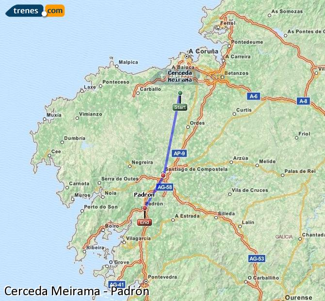 Enlarge map Trains Cerceda Meirama to Padrón