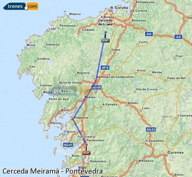 Agrandir la carte Trains Cerceda Meirama Pontevedra