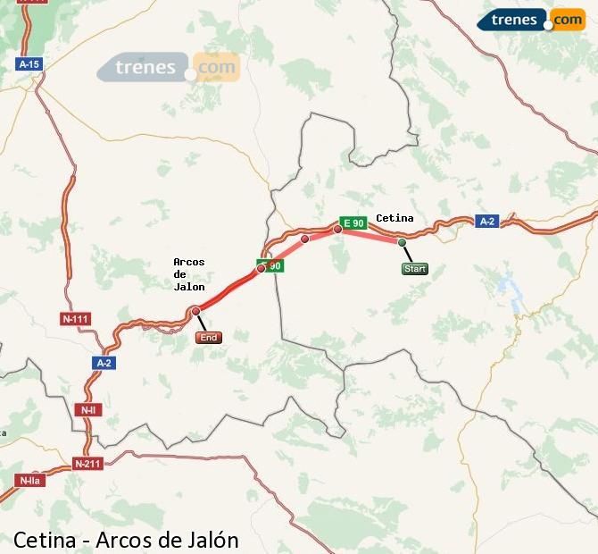 Agrandir la carte Trains Cetina Arcos de Jalón