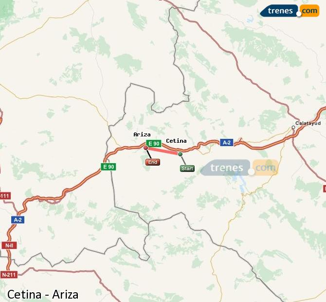Enlarge map Trains Cetina to Ariza