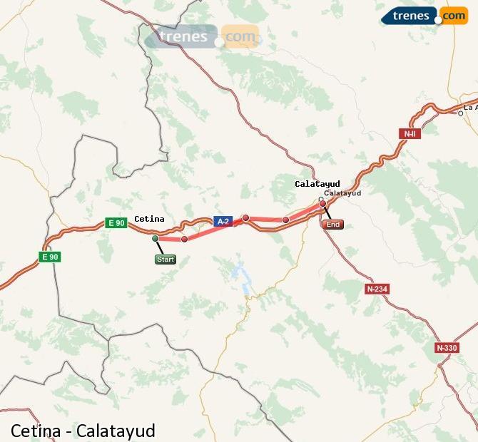 Ampliar mapa Comboios Cetina Calatayud