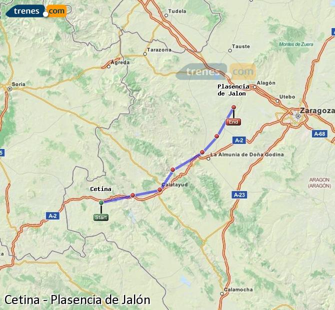 Karte vergrößern Züge Cetina Plasencia de Jalón
