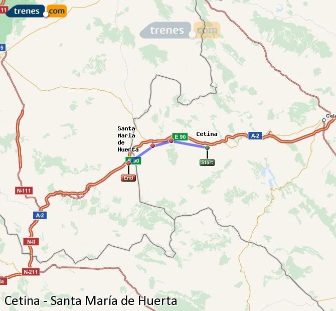 Ingrandisci la mappa Treni Cetina Santa María de Huerta