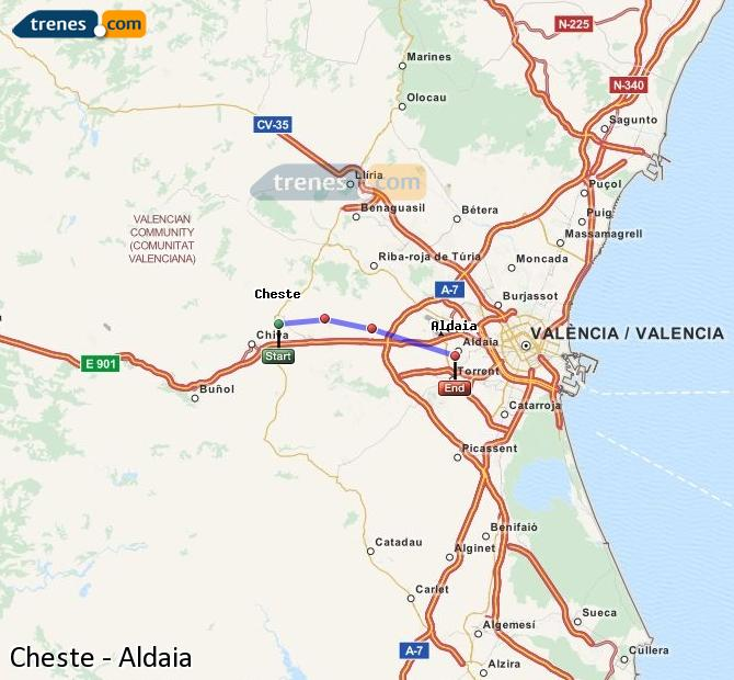 Enlarge map Trains Cheste to Aldaia