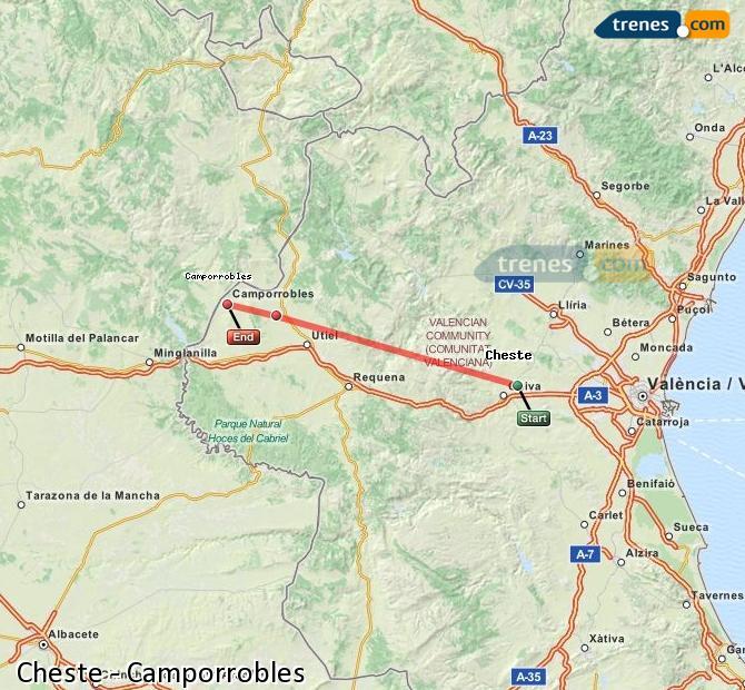 Karte vergrößern Züge Cheste Camporrobles