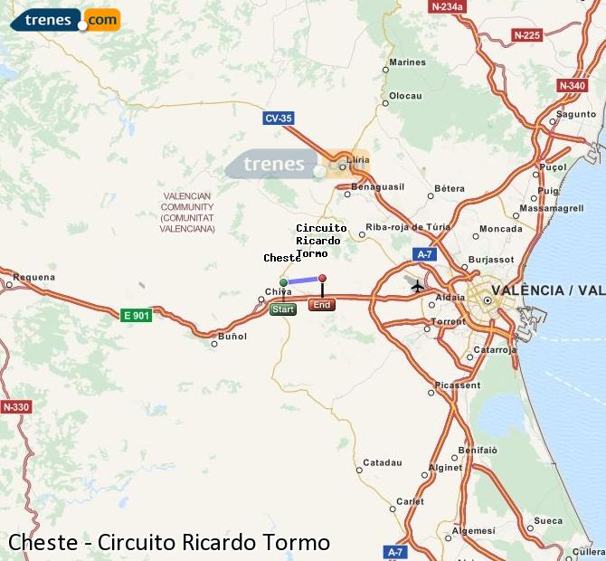 Enlarge map Trains Cheste to Ricardo Tormo Circuit