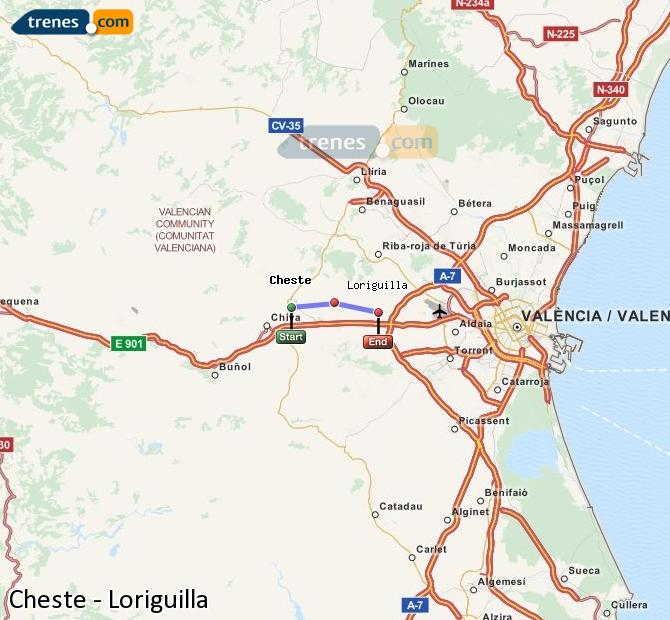 Enlarge map Trains Cheste to Loriguilla