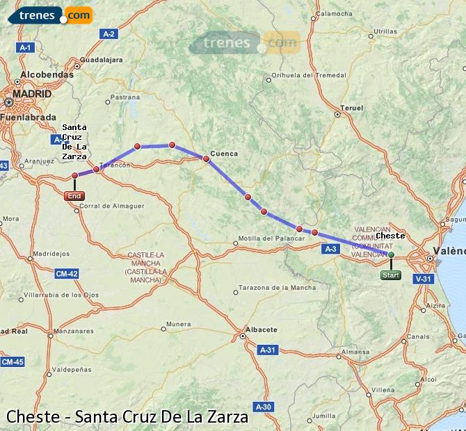 Ampliar mapa Comboios Cheste Santa Cruz De La Zarza
