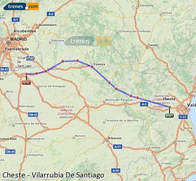 Ingrandisci la mappa Treni Cheste Vilarrubia De Santiago