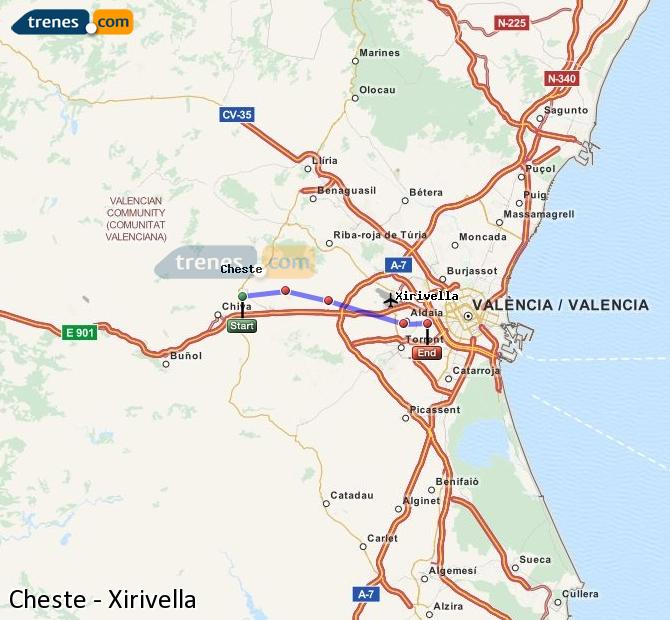 Enlarge map Trains Cheste to Xirivella