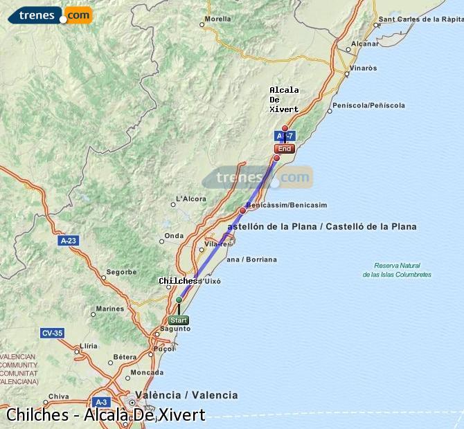 Enlarge map Trains Chilches to Alcalà De Xivert