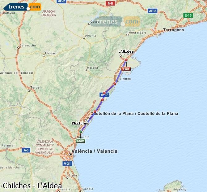 Karte vergrößern Züge Chilches L'Aldea
