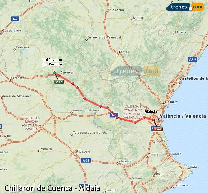 Enlarge map Trains Chillarón de Cuenca to Aldaia