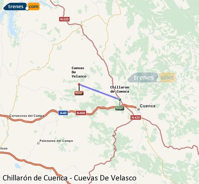 Enlarge map Trains Chillarón de Cuenca to Cuevas De Velasco