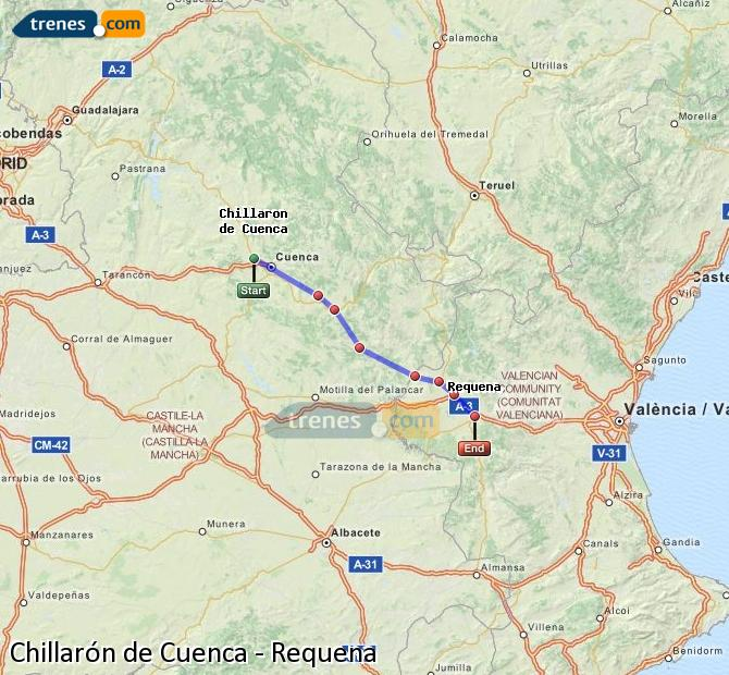 Agrandir la carte Trains Chillarón de Cuenca Requena