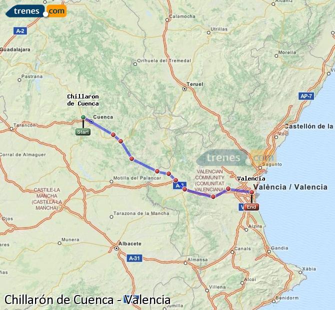 Enlarge map Trains Chillarón de Cuenca to Valencia
