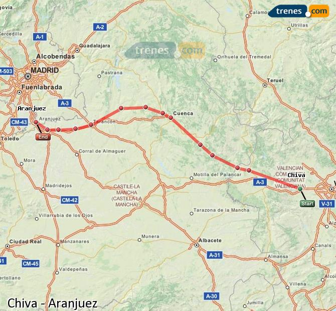 Ampliar mapa Trenes Chiva Aranjuez