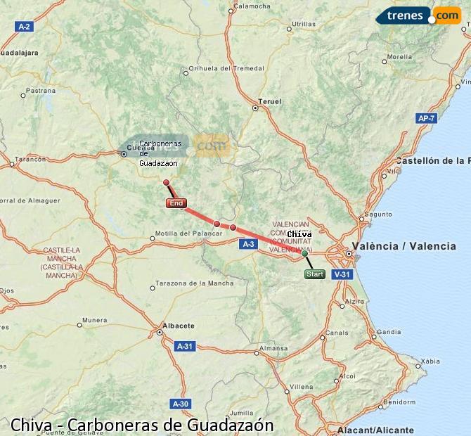 Ampliar mapa Comboios Chiva Carboneras de Guadazaón