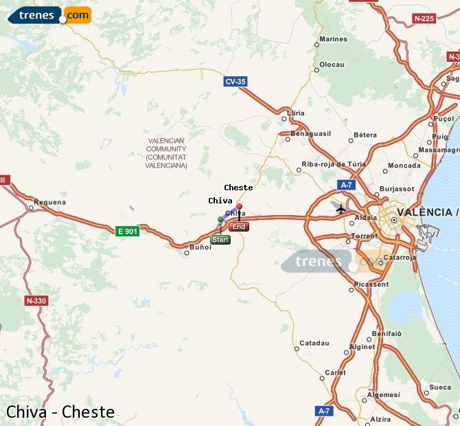Ampliar mapa Comboios Chiva Cheste
