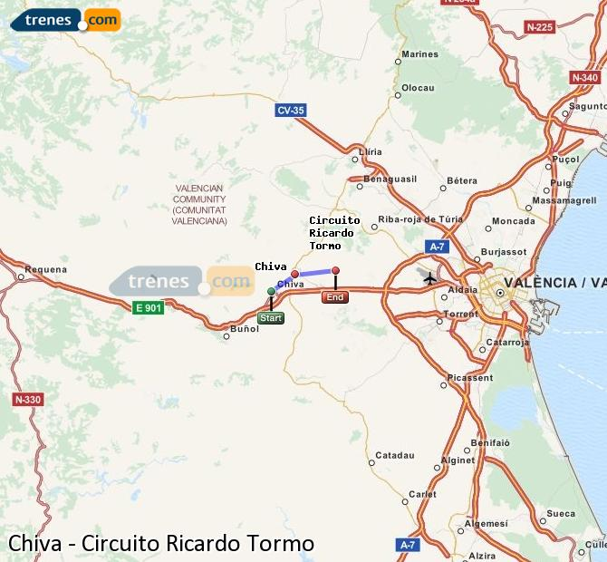 Enlarge map Trains Chiva to Ricardo Tormo Circuit
